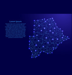 map of botswana from polygonal blue lines vector image vector image