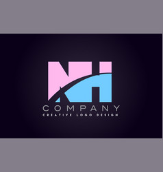 nh alphabet letter join joined letter logo design vector image vector image