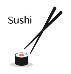 chopsticks and sushi roll vector image