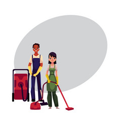 cleaning service workers man woman in overalls vector image vector image