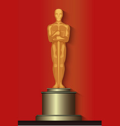 Golden oscar film award statuette isolated vector image vector image