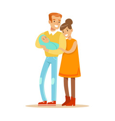 happy mother and father holding sweet adorable vector image vector image