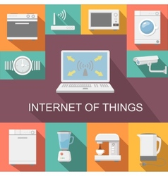 Internet of things computer remote control flat vector image vector image