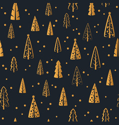 merry christmas gold tree seamless pattern vector image vector image
