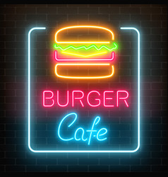 neon burger cafe glowing signboard on a dark vector image