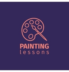 Painting lessons thin line icon vector image