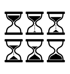 Sand Clock Set Glass Timer on White Background vector image