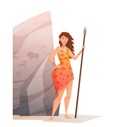 smiling young woman holding a spear vector image