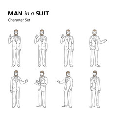 stylized characters set bearded man in a suit vector image vector image