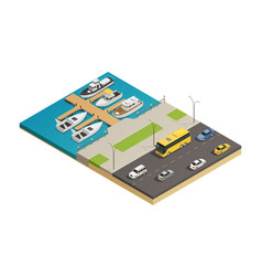 Waterfront harbor transport isometric composition vector