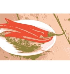 a lot of pepper on white plate vector image