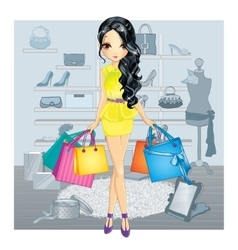 Brunette Gir In Shoes Store vector image