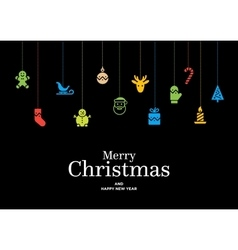 Christmas card with set of icons and vector