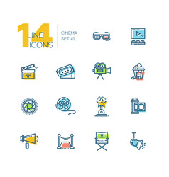 cinema and movie thick line icons set vector image vector image