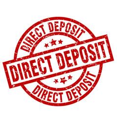 direct deposit round red grunge stamp vector image vector image