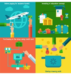 Flat concepts set of online paying startup and vector image vector image
