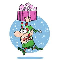 Santas Elf Runs With Gift vector image
