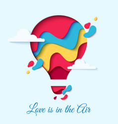 valentines day card with paper cut hot air balloon vector image vector image