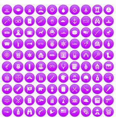 100 bullet icons set purple vector