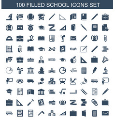 100 school icons vector