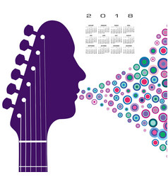 a 2018 calendar with a guitar headstock man vector image
