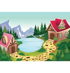 A beautiful house in nature vector