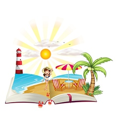 A book with an image of a beach vector image vector image