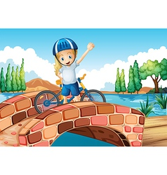 A female biker standing above the bridge vector