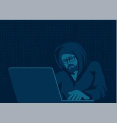 a hacker with laptop breaks computer code vector image