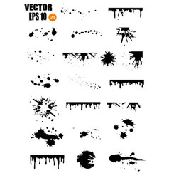 a large set of black ink ink smears stains vector image