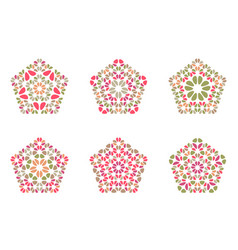 Abstract colorful petal ornament pentagon logo vector