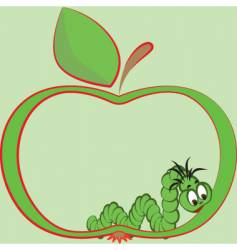 Apple and worm vector
