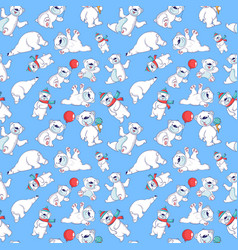 bear pattern seamless cartoon style vector image