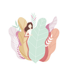 Beautiful girl with big leaves faceless young vector