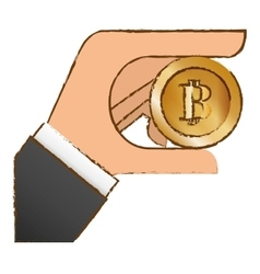 Bitcoin icon money symbol in the hand vector