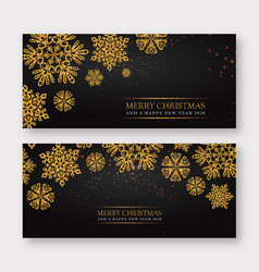 black and golden merry christmas banner background vector image