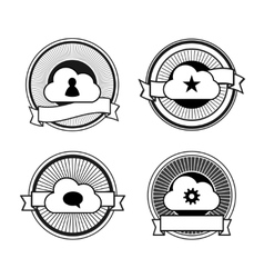 Black and white cloud stamps vector