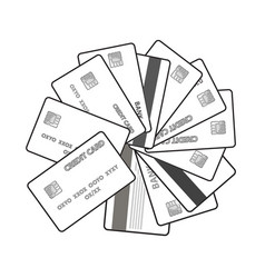 black and white set credit cards vector image