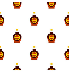 Bottle of maple syrup pattern seamless vector