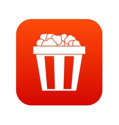 box of popcorn icon digital red vector image