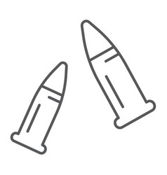 Bullets thin line icon ammo and caliber vector