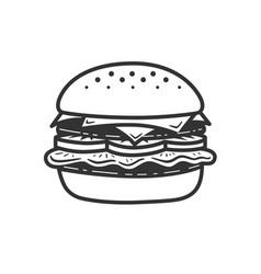 burger icon or logo line art style vector image