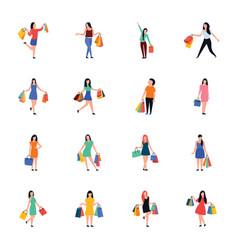 Buying people flat icons pack vector