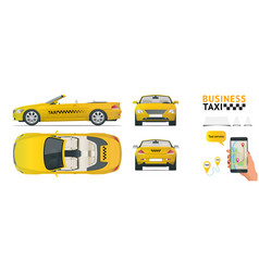 Cabrio car taxi transfer flat high quality city vector