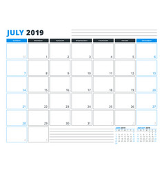 Calendar template for july 2019 business planner vector