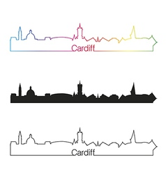 Cardiff skyline linear style with rainbow vector