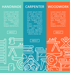Carpenter woodwork posters in linear style vector