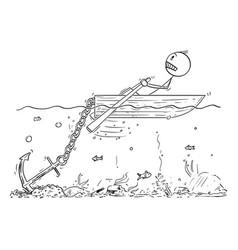 cartoon man or businessman rowing hard vector image