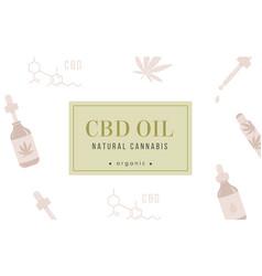 Cbd hemp oil web banner in organic color on white vector
