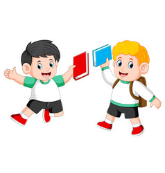 children are holding their book and jumping vector image